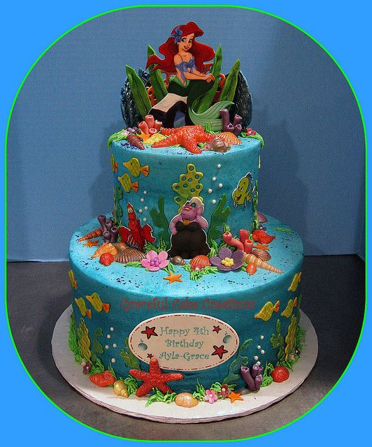 Ariel Little Mermaid Birthday Cake Mermaid birthday cakes Mermaid