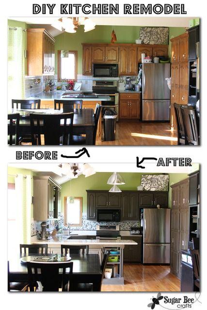 My DIY Budget Kitchen Makeover! White Cabinets   Valspar Swiss Coffee;  Walls   Valspar Aspen Gray; Wood Countertop/Island   Minwax Cu2026 |  Tracylynnstudio ...