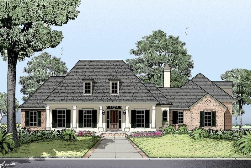 Country French Love The Porch Http Mcdhouseplans Com Images Products Closeups 3274 85frontele Acadian House Plans French Country House Southern House Plans
