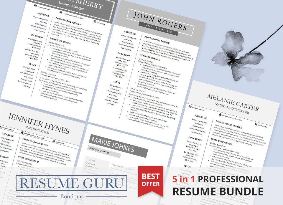 Resume Template Bundle | Cover Letter for MS Word | Modern CV Design ...
