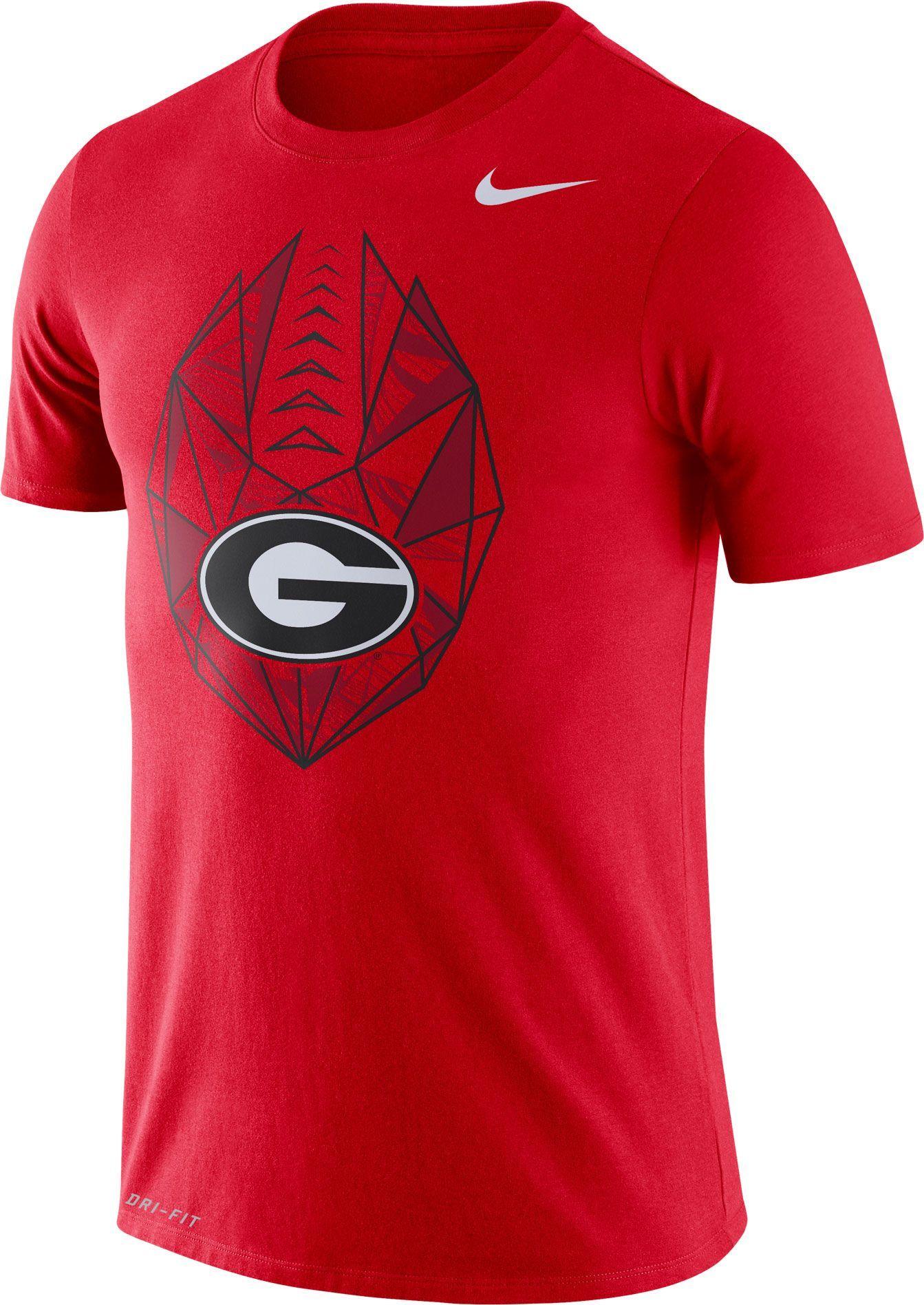 Nike Mens Georgia Bulldogs Red Dri Fit Football Icon T Shirt
