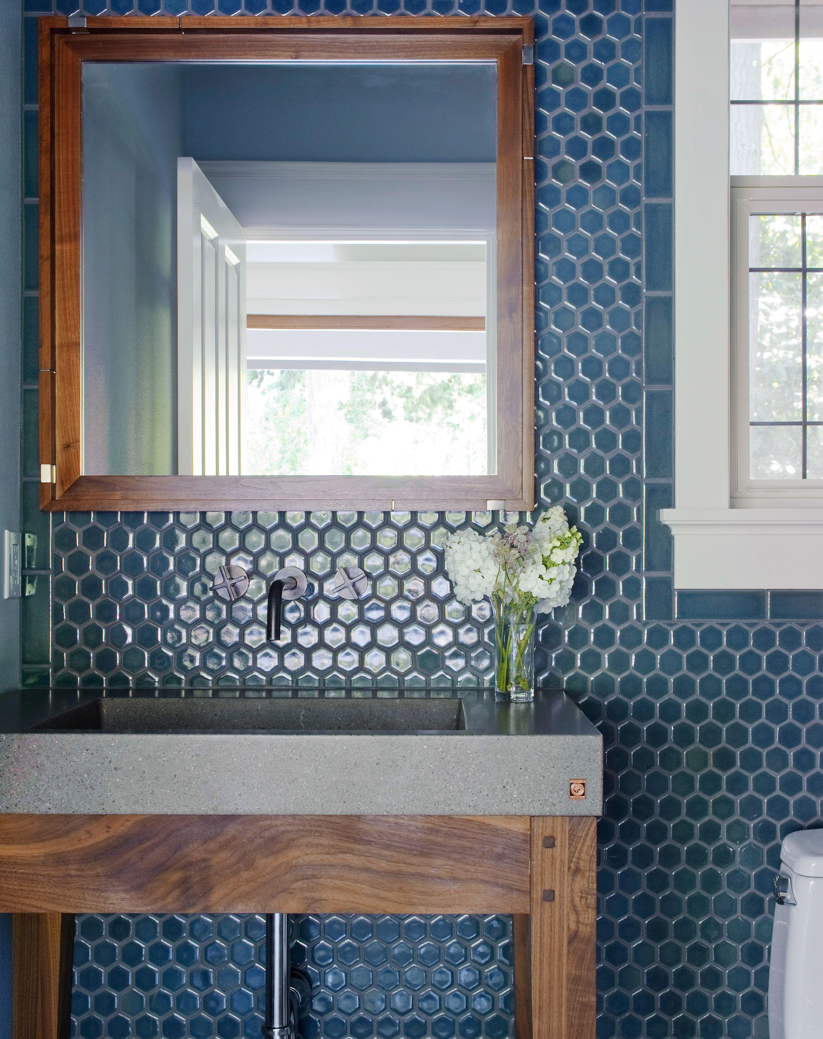 Ann Sacks Nottingham 2 Hexagon Ceramic Field In Blue Marine Blue Bathroom Tile Bathroom Design Decor Ann Sacks Tiles