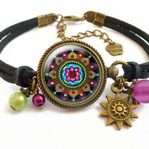 Bracelet • Mandala •  dôme de verre 20mm