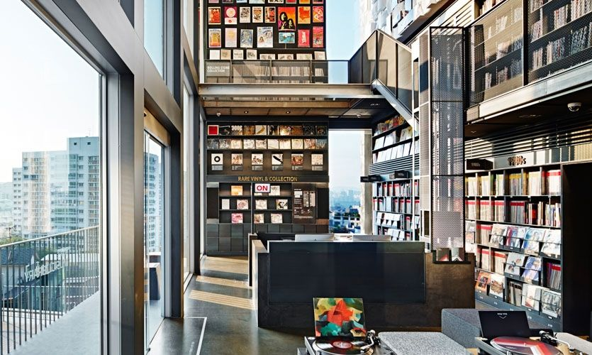 The music library, including hundreds of vintage music