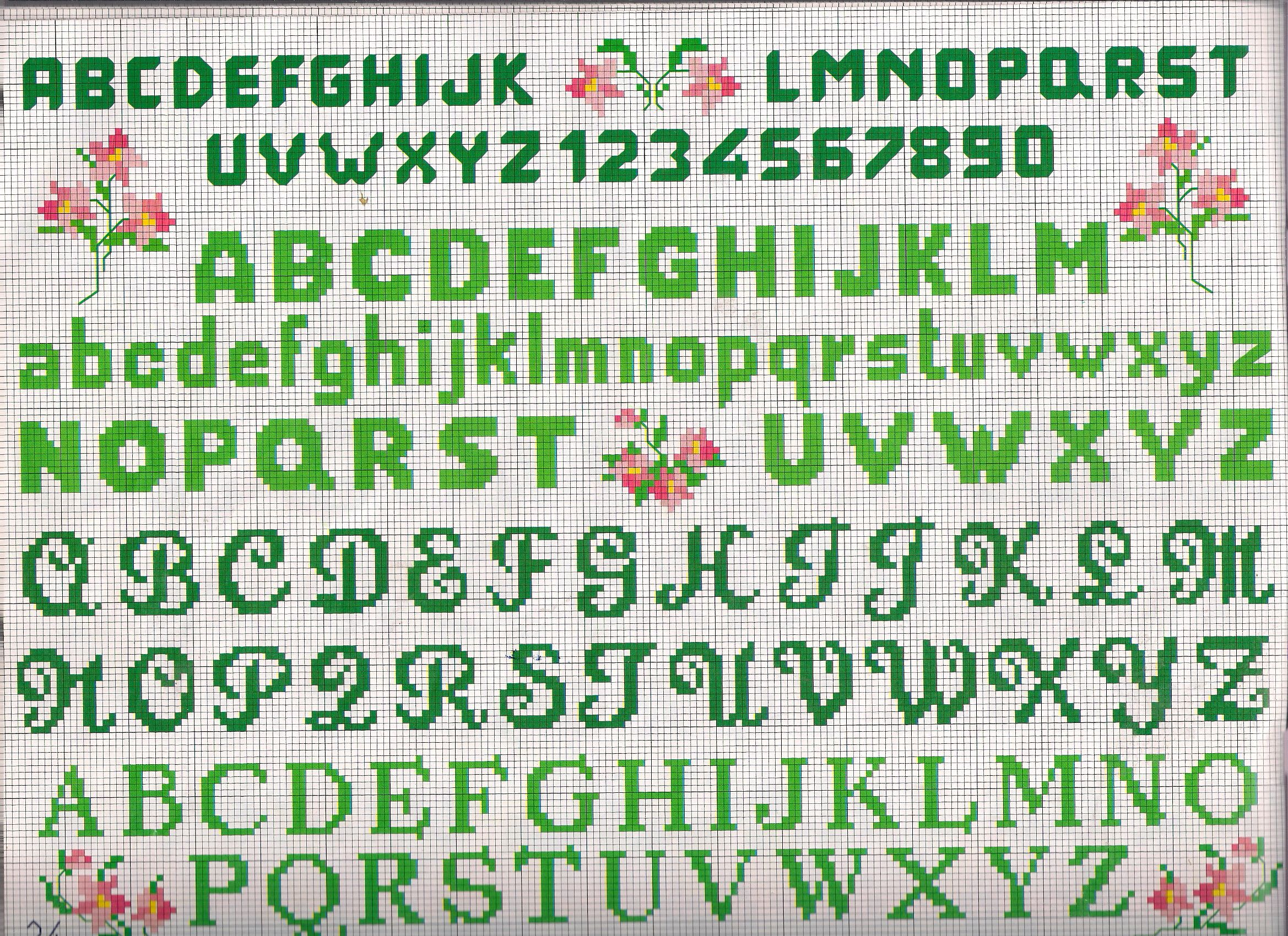 Lettere e numeri piccoli needlepoint cross stitch for Punto croce schemi alfabeto