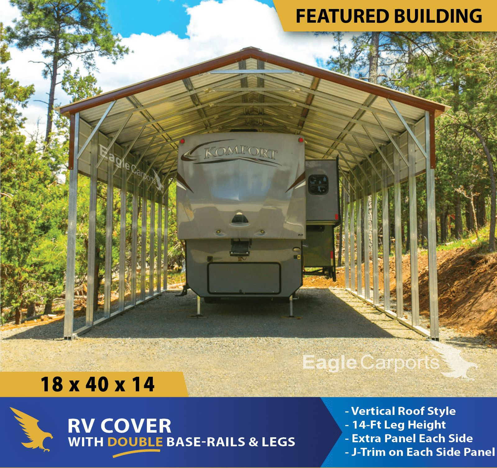 18x40x14 RV Cover built with a Vertical Roof with 14ft
