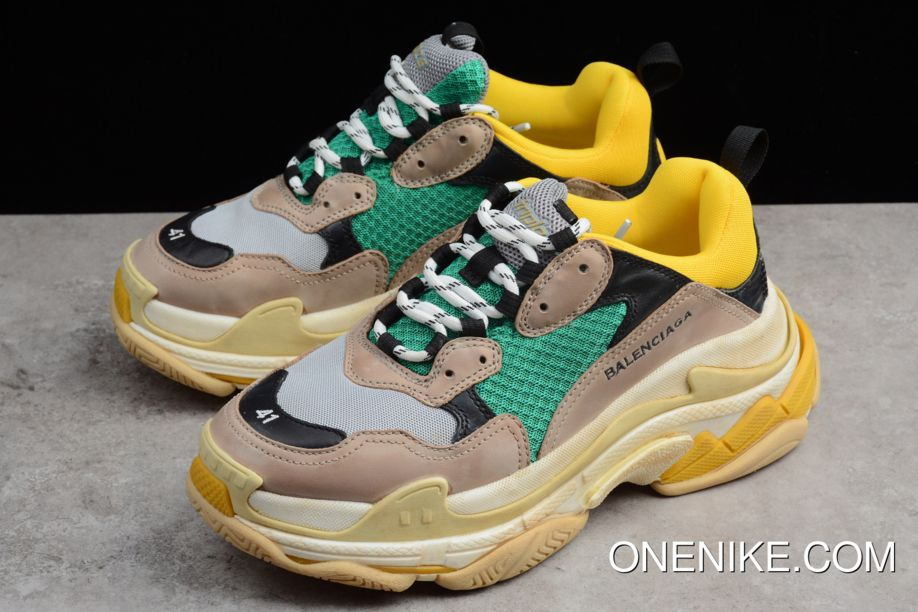 92e2e8c488 Balenciaga Triple-S Sneaker Yellow Black-Green-Desert Mens And Womens Size  Trainers Outlet