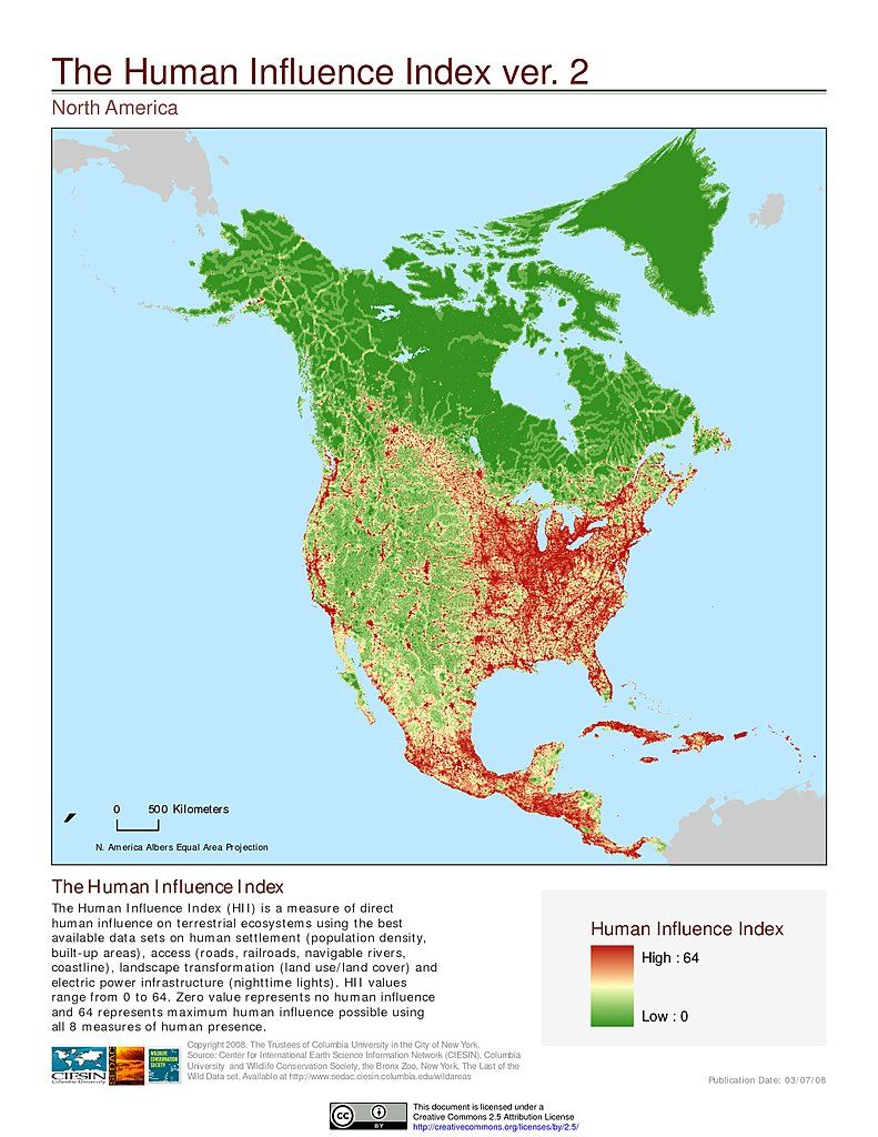 Human Influence Index North America Map Pinterest
