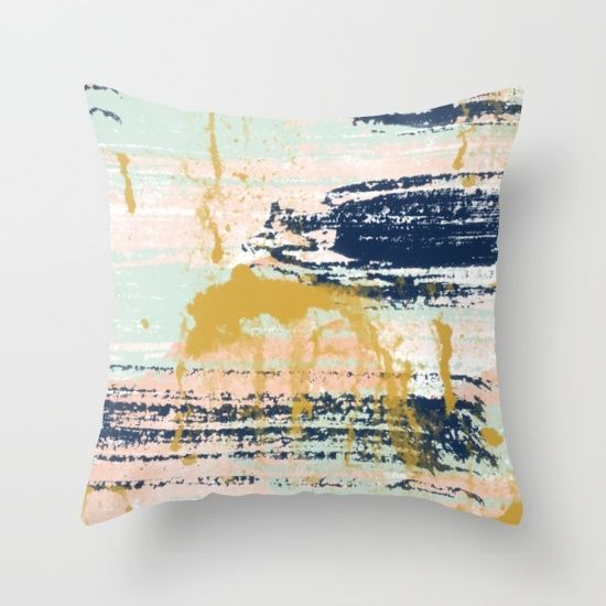 blush gold navy white mint abstract throw pillow