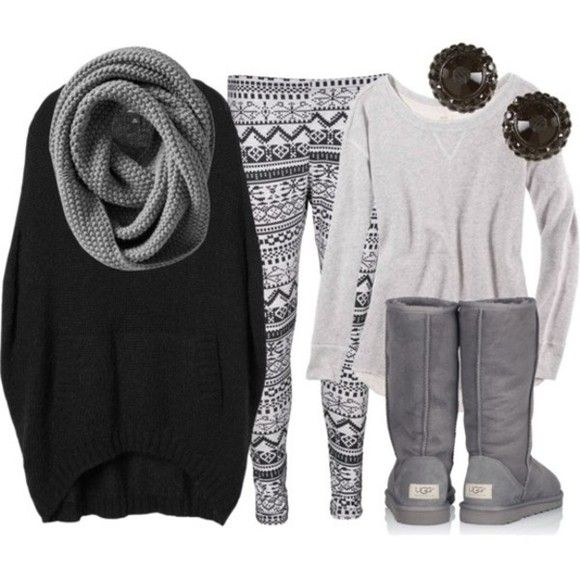 winter winter outfits grey uggs cute winter sweaters black shirt gray sweater snow flakes sweater earrings leggins scarf grey scarf pants ugg Black earrings