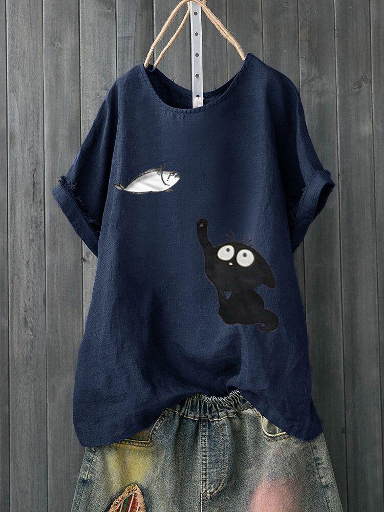 Cartoon Cat Fish Print T-Shirt