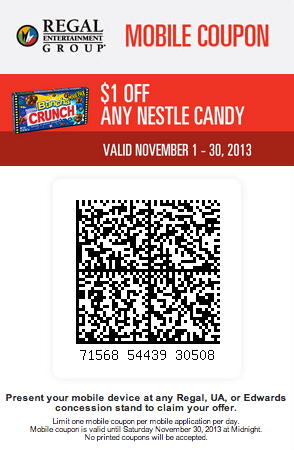 Regal Cinema 1 off Nestle Candy Printable Coupon