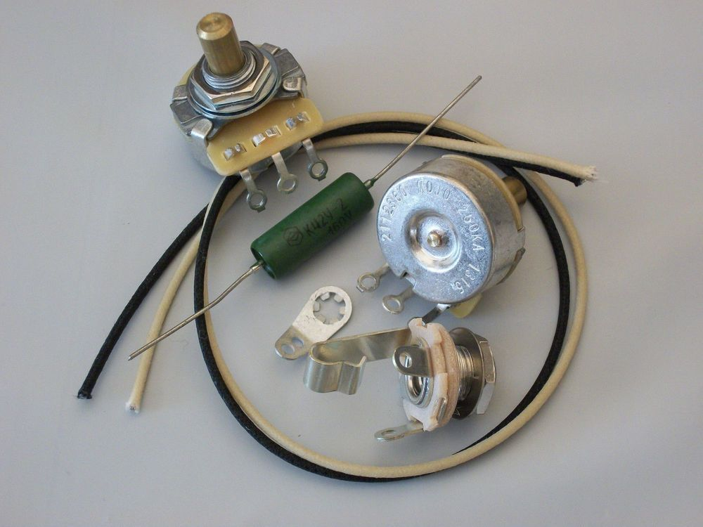 Wiring Harness Kit for P Bass CTS Pots .047uf Soviet Paper