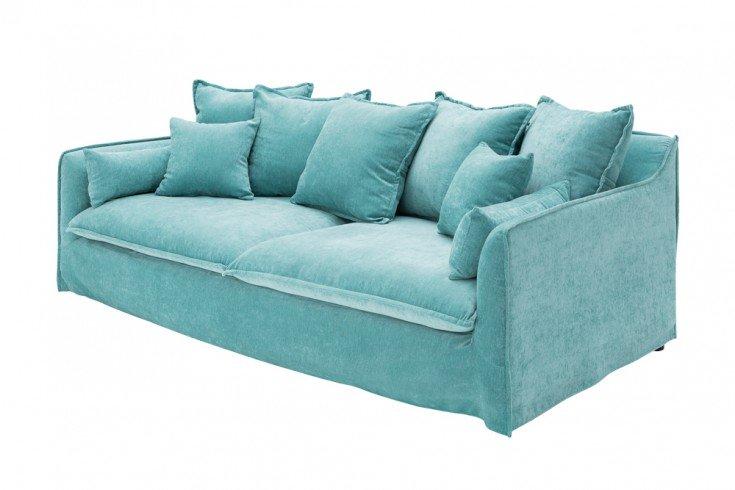 Grosses 3er Sofa Heaven 210cm Aqua Samt Abnehmbarer Bezug Hussensofa Riess Ambiente De 3er Sofa Sofa Sofa Couch