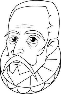 Miguel De Cervantes Para Colorear Buscar Con Google Don Quijote Dibujo Quijote Dibujo Cervantes