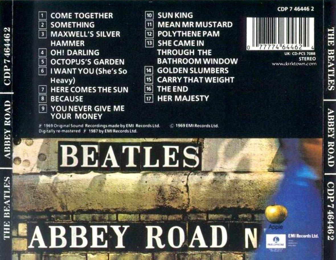 Carátula trasera de the beatles abbey road letras en