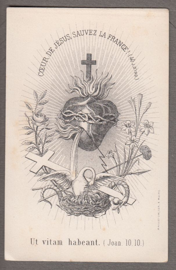 SACRED HEART OF JESUS SAVE FRANCE  antique holy card