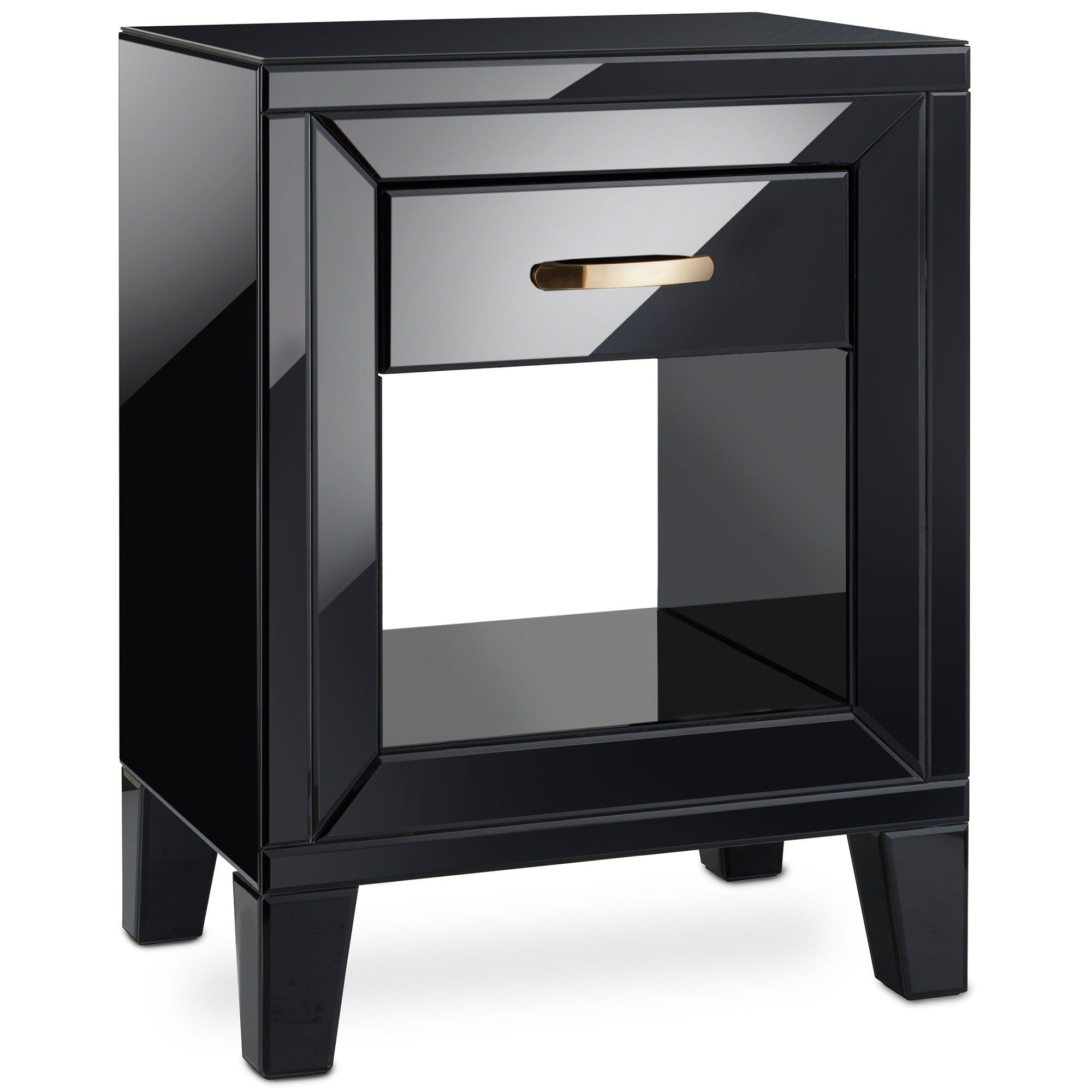 Beautify Black Mirrored Bedside Table With A Design This Exude Freestanding Mirrors Nightstand Mirror