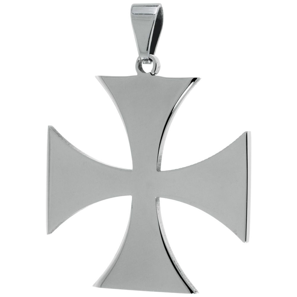 Stainless Steel Maltese Cross Pendant Free Bead Ball Chain