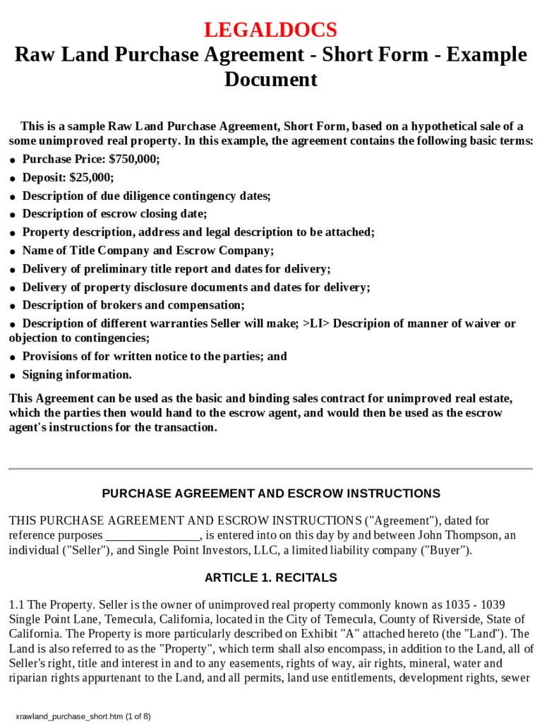 simple land purchase agreement form sample resume for nurses with no experience template cv free doc real estate objective