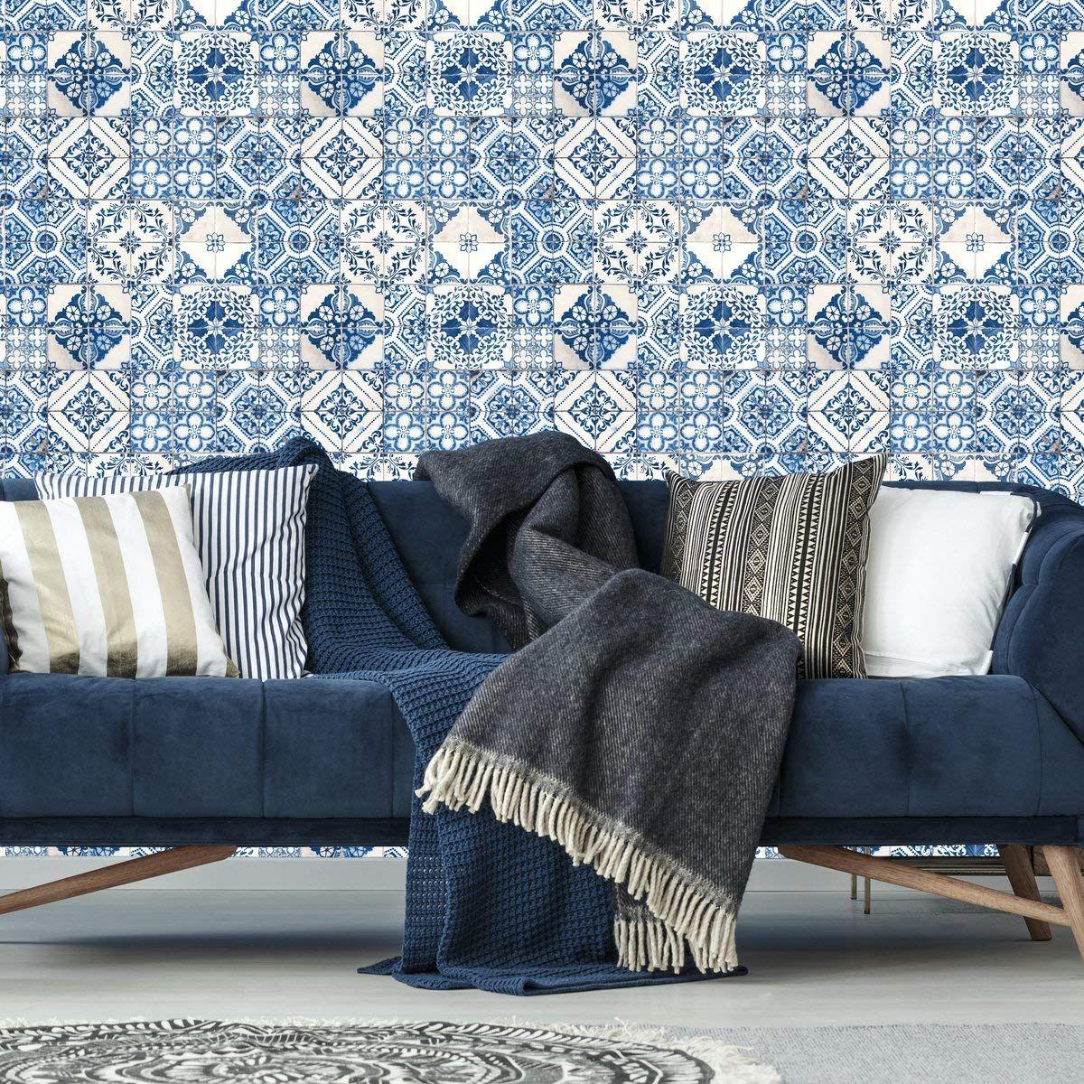 Roommates Mediterranian Tile Peel And Stick Wallpaper Amazon Com Peel And Stick Wallpaper Blue Mosaic Tile Stick On Tiles