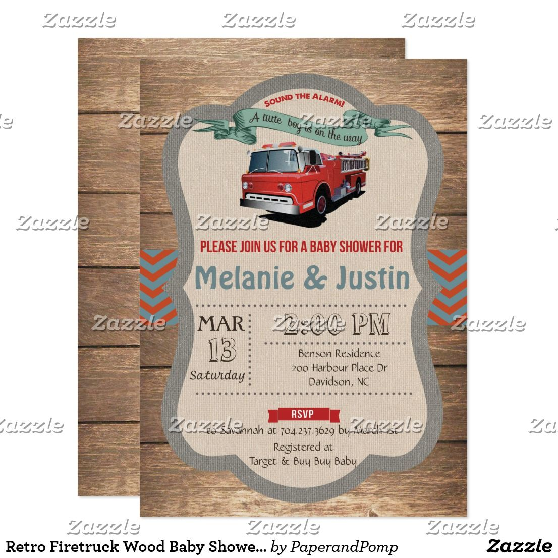 Retro Firetruck Wood Baby Shower Invitation | Fire engine ...