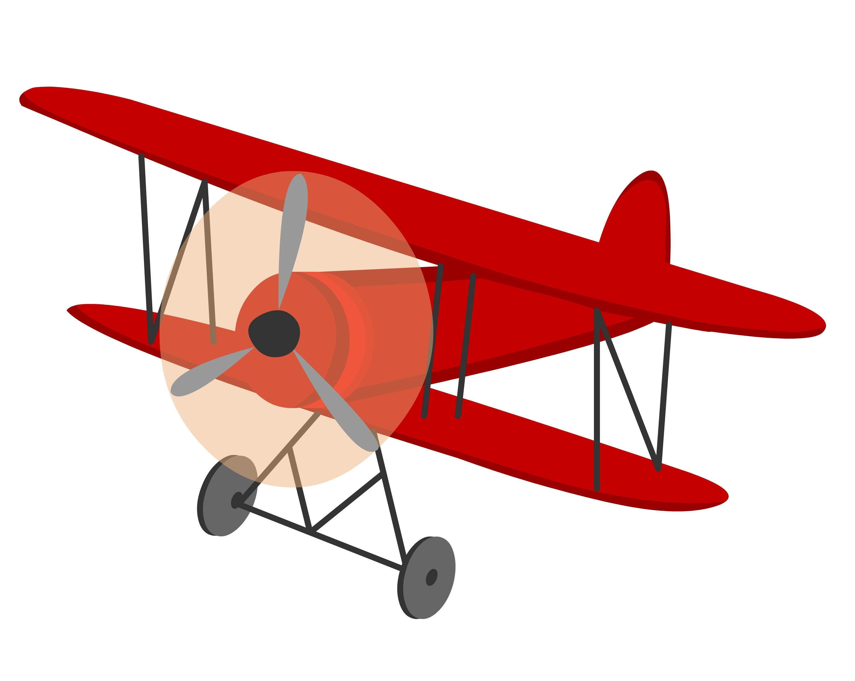 Airplane red. Vintage biplane clipart the