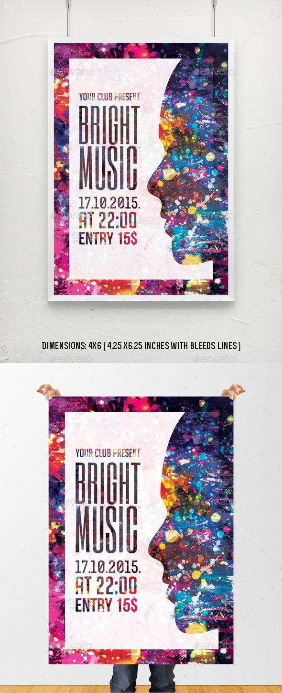 Bright Music Flyer Poster Template | Plakate, Grafik-design-flyer ...