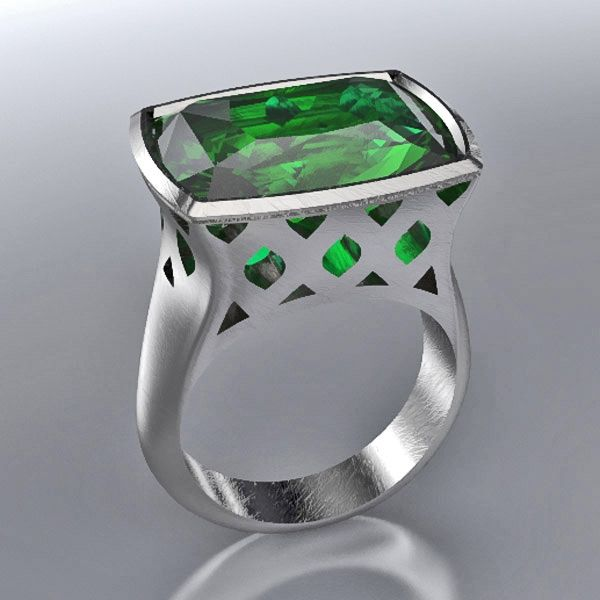 Green Tourmaline Arabesque Ring by Rona Fisher Jewelry Design. American Made. See the artist's work at the 2014 Buyers Market of American Craft, Philadelphia, PA. January 18-21, 2014. americanmadeshow.com