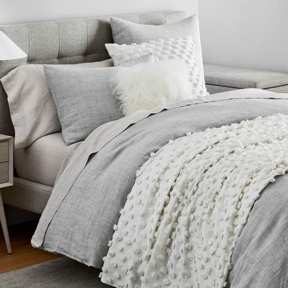 Frost Grey Belgian Flax Linen Fiber Dyed Styled Bedding Set West Elm Canada In 2020 Grey Bedding Master Bedroom Bedding Master Bedroom Bed Styling