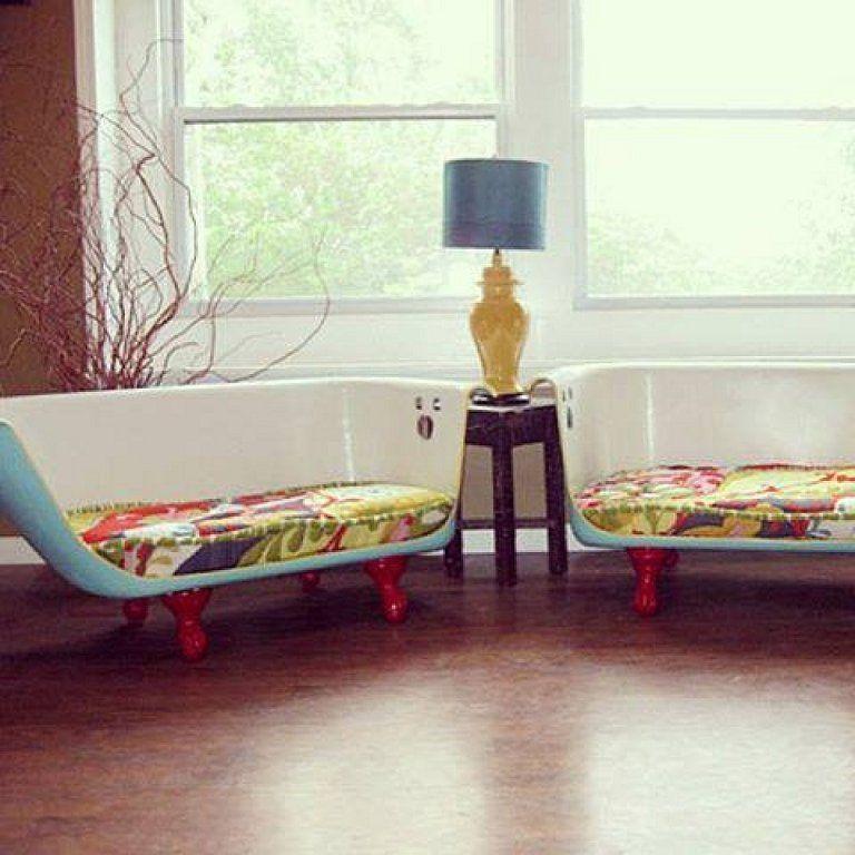 Convertir una bañera en dos sofás