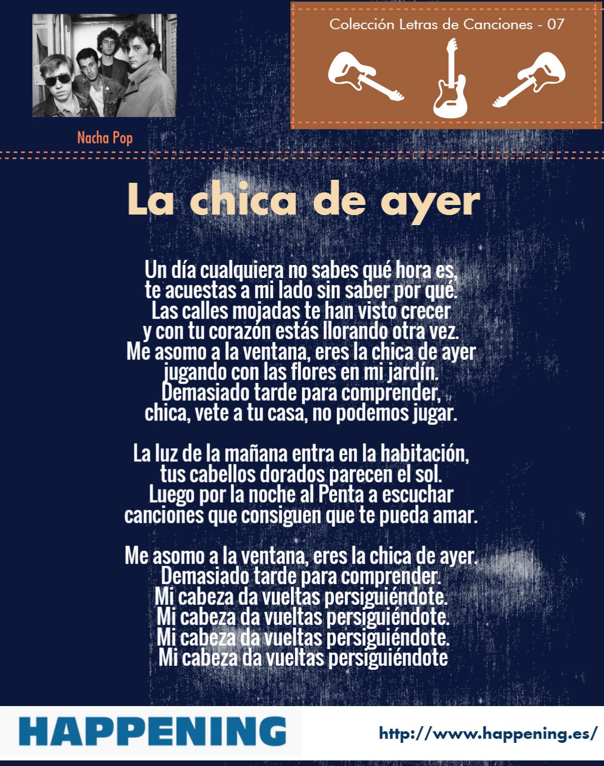 La Chica De Ayer Nacha Pop Letras De Canciones Canciones Letras