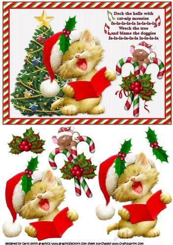 Catnip Christmas Fa La La La La La La La La Craftsuprint Christmas Decoupage Xmas Printables Christmas Art