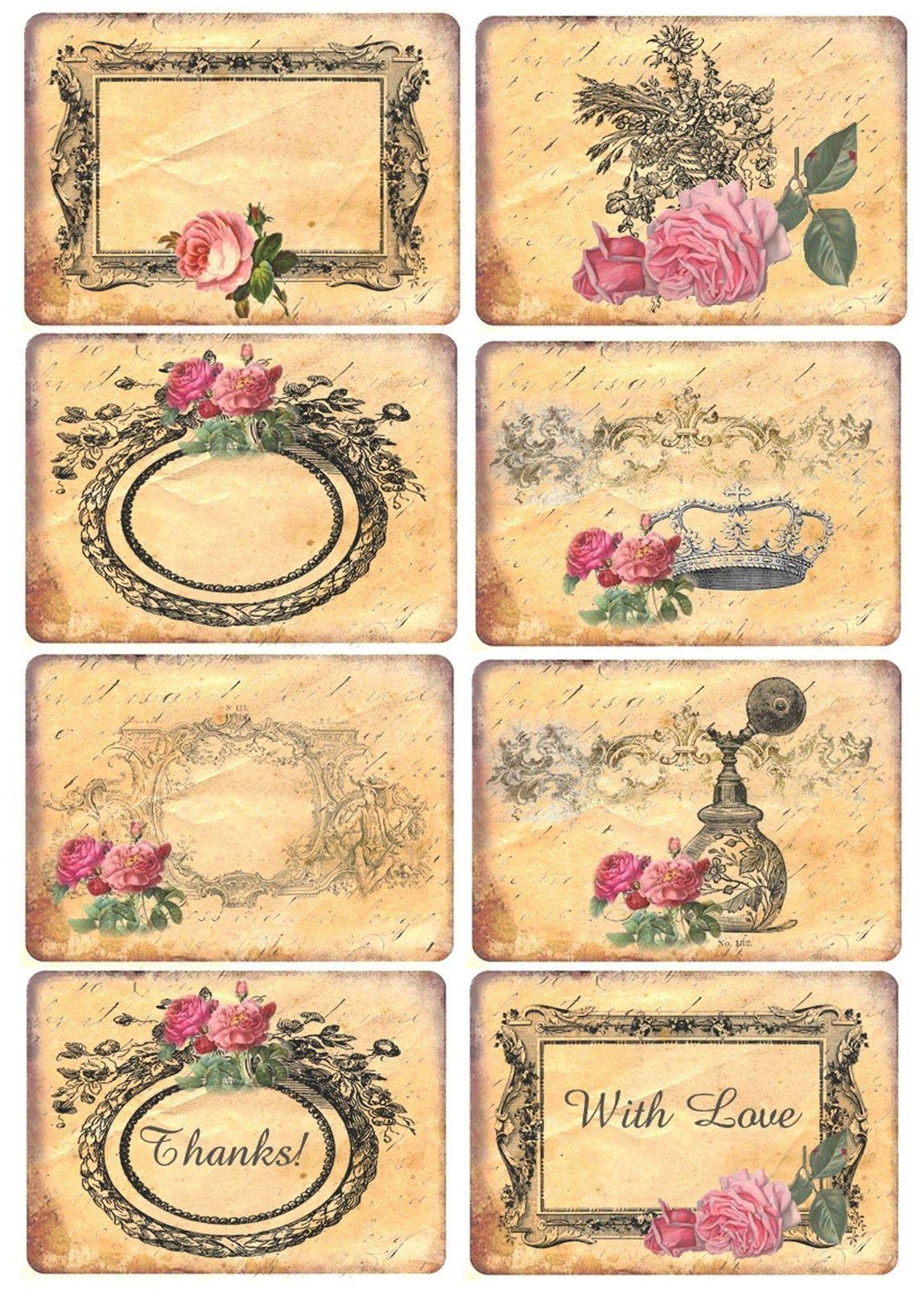 Mi Baul Del Decoupage Rosas Imprimir Sobres Etiquetas Vintage