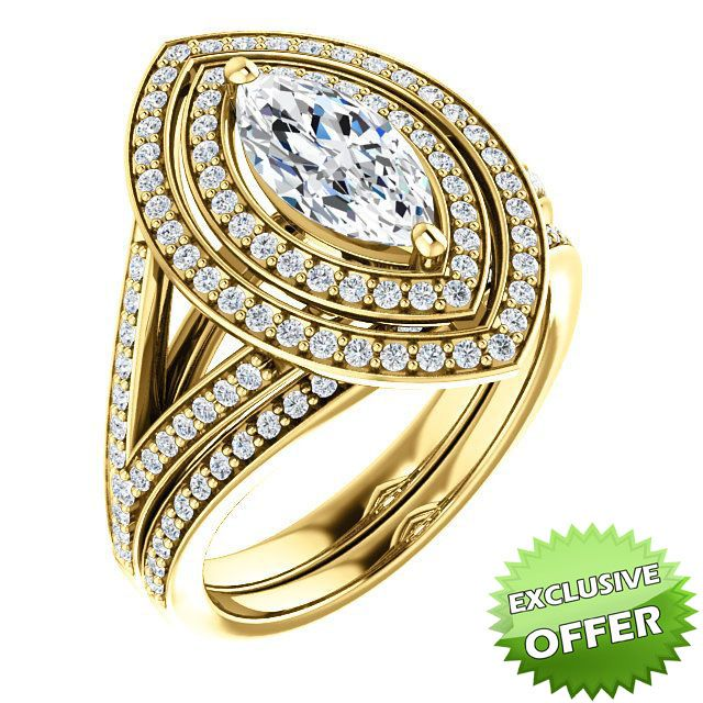 10kt Yellow Gold 10x5mm Center Marquise Imitation Diamond And 98 Accent Round Diamonds Bridal Ring S Diamond Bridal Ring Sets Bridal Ring Set Yellow Gold Rings