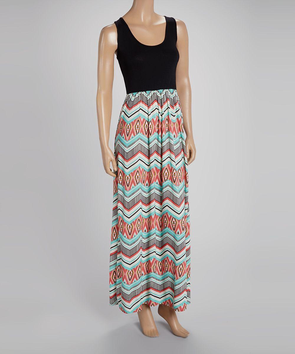 Black u teal zigzag sleeveless maxi dress zulily my style