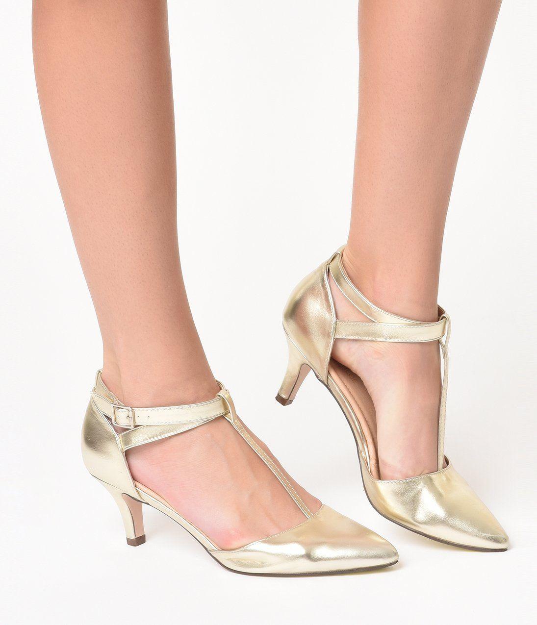 Metallic Gold Leatherette Pointed Toe Ellie T Strap Heels Vintage Shoes Women T Strap Heels T Strap Shoes