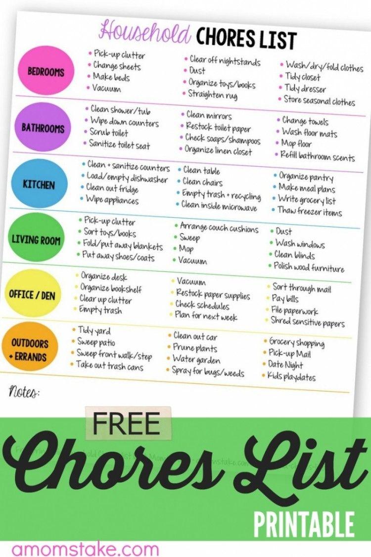 Printable Household Chores List | Free printable ...