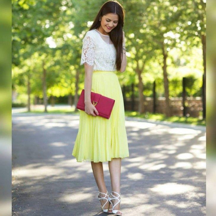 2e85ce341 saia-midi-plissada-amarela-neon-comprar-hora-de-diva | Hora de Diva ...