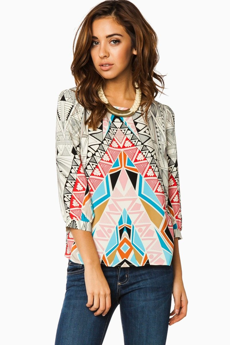 Hedland Blouse in Red / ShopSosie #whimsical #bright #tribal #printed #blouse #shopsosie