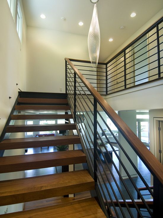 Pin By Kathy Mccue On Home Renovation Ideabook Modern Stairs | Black Iron Stair Railing | Wrought Iron | Staircase | Beautiful Staircase | Outdoor Handrail Stair | Residential Stair
