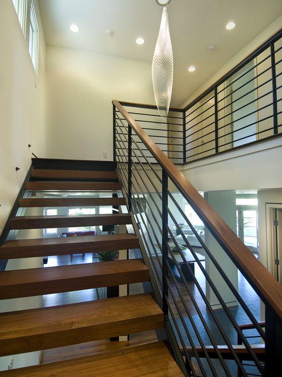 Pin By Kathy Mccue On Home Renovation Ideabook Modern Stairs | Modern Black Stair Railing | Horizontal | Aluminum | Modern Style | Dark Grey | Matte Black