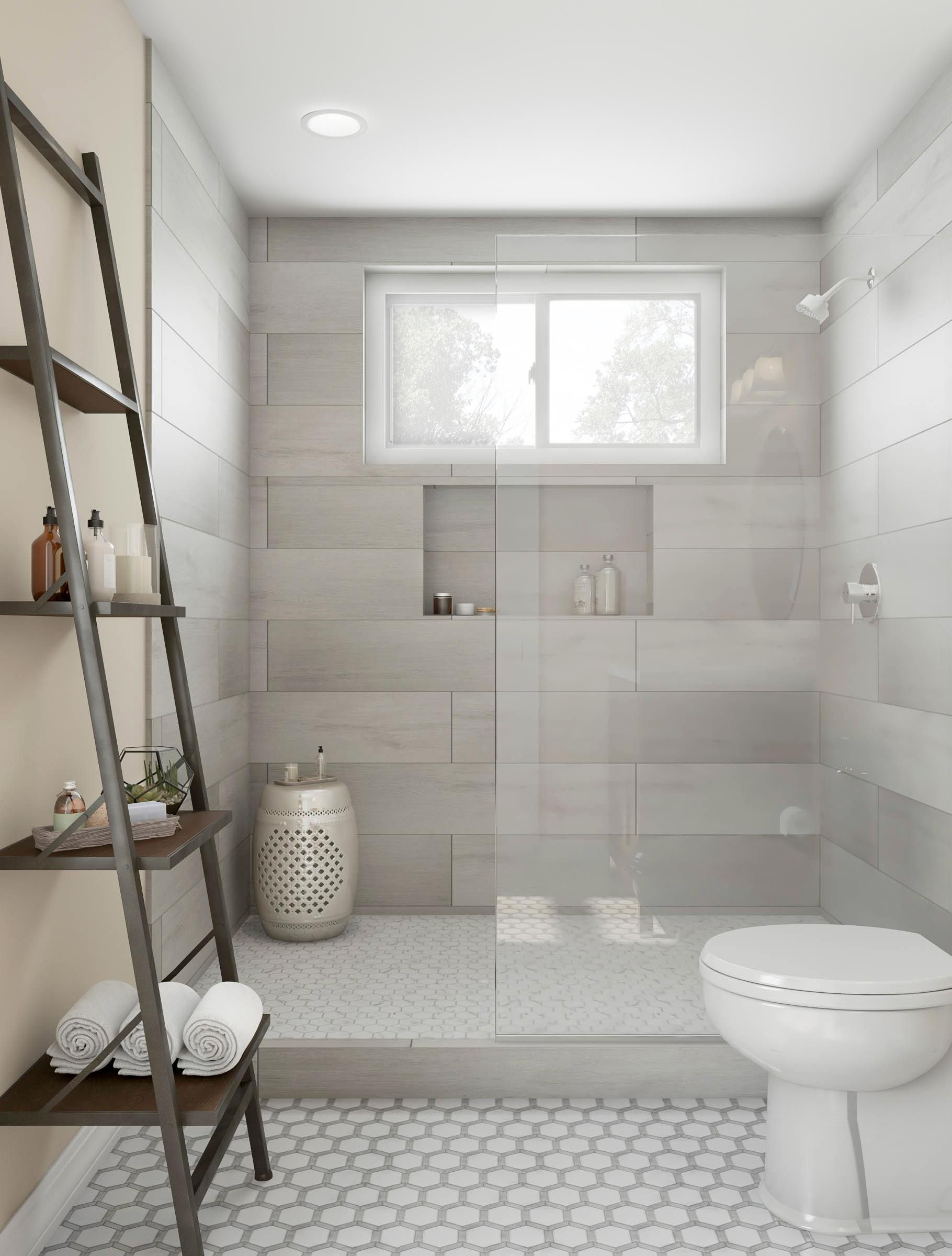 Ash Gradient Walk In Spa Shower Bathroom Remodel Shower Master Bathroom Shower Bathrooms Remodel Half tiled bathroom window