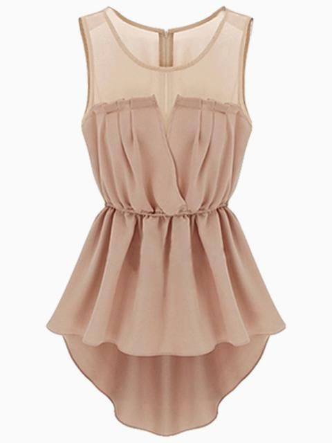 Mesh Insert Hi Lo Waisted Dress in Beige | Choies