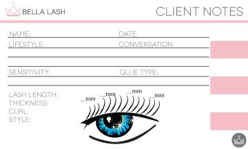 Keep your eyelash extension clients organized with a client note
