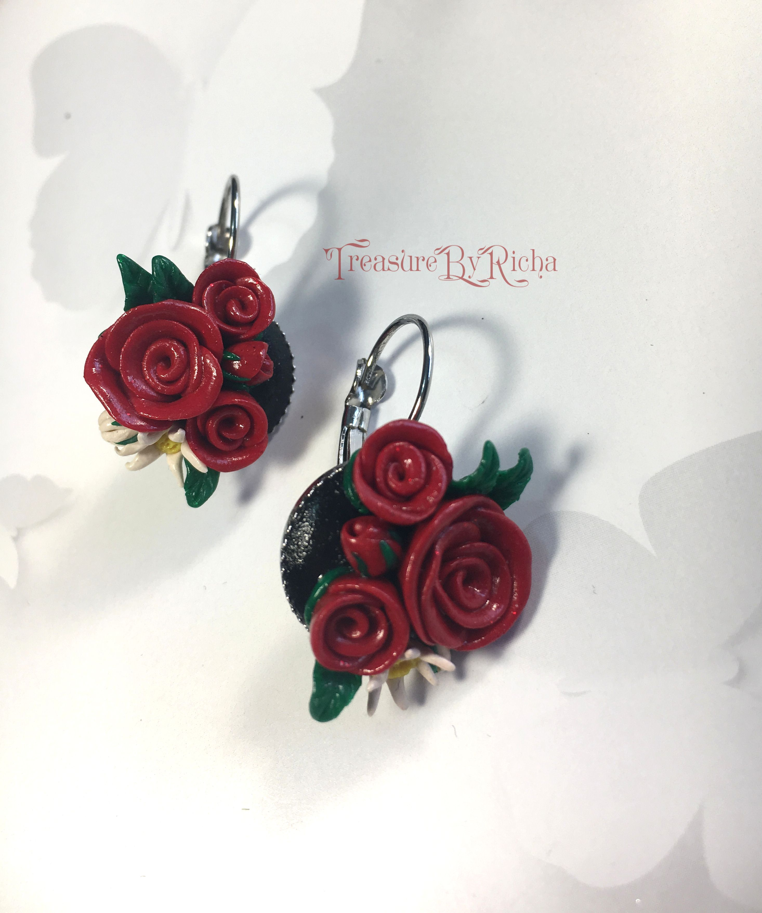 Flower Polymer Clay Earrings Clay Rose Earrings Clay Earrings Beautiful Earrings Rose Flower Earrings Vale Red Flower Earrings Clay Earrings Rose Earrings