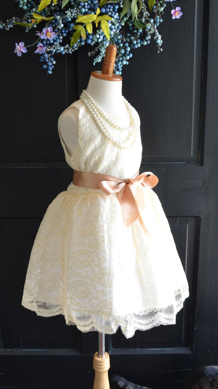 Girls wedding dress  Vintage Inspired Ivory Lace Dress  Vintage style dresses Dress