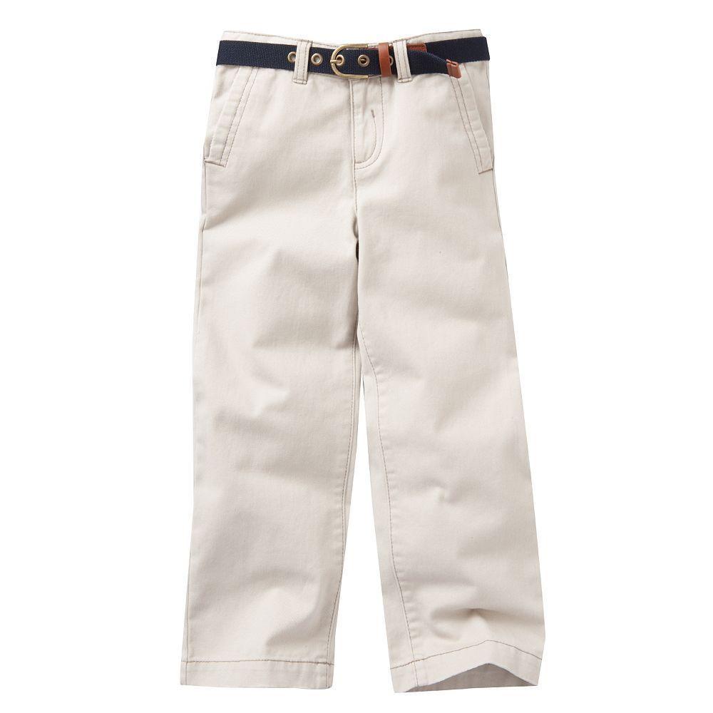 NWT Boys Eddie Bauer Belted Chino Pants in Light Taupe - Size 5 #EddieBauer #KhakisChinos #Everyday