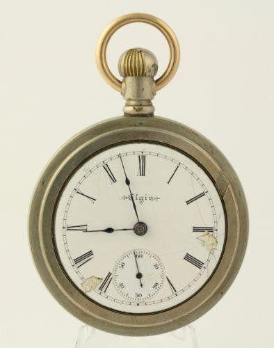 Antique Elgin Pocket Watch 1902 Open Face 18s 17j Runs Silverode