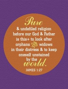 picture regarding Printable Bible Study on James called HomeLife Journal Printable Scripture Phrase Artwork: James 1:27